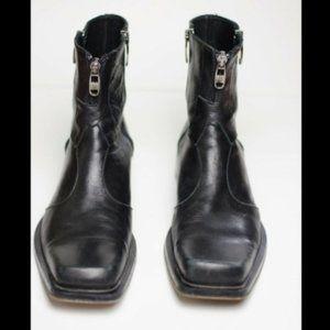 Eveet Sz 40 7.5 Black Motorcycle Moto Boot Leather